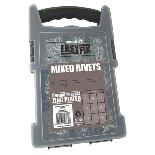 Easyfix BZP Mixed Rivets Pack 900 Pcs