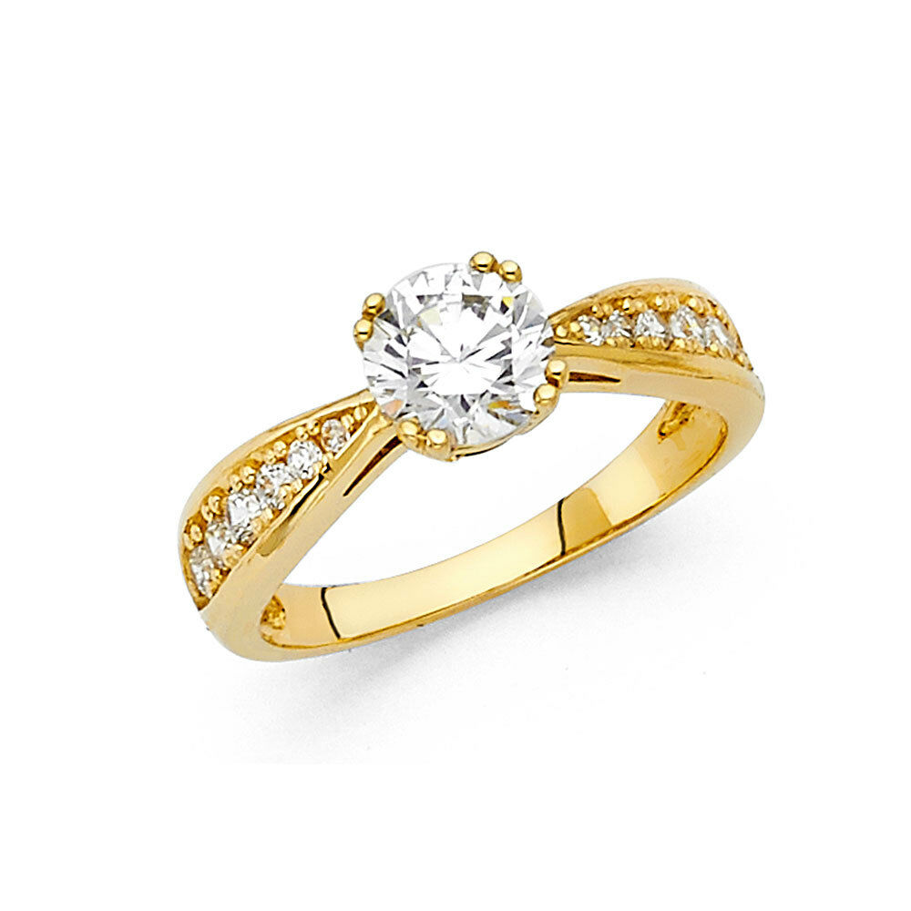 7b5558aa73ff7 1.25 CT Round Solitaire Diamond Engagement Ring 14k Solid Yellow ...