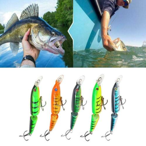 Lot Double Section Bionic Fishing Lure Crank Bait Tackle Bass Hook Durable M9O3