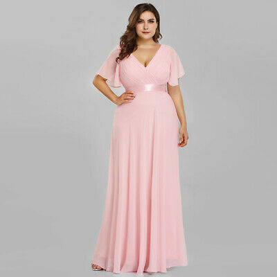 Hell Ever-pretty Elegant Women Plus Size V-neck Summer Beach Party Dresses 09890 Knitterfestigkeit