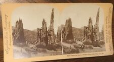 Stereoview Keystone View Co. Cathedral Spires, Garden Of The gods,Wagon & Horses