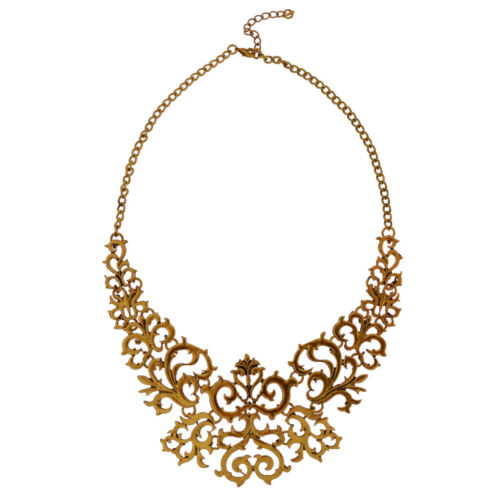 Vintage hohlen filigrane Blume Anhänger Choker Halskette Ketten Schmuck