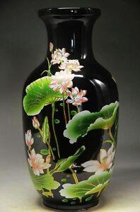 Black and elegant porcelain Chinese old hand painted lotus vase
