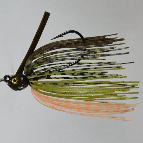 Bob4Bass  Spit-N-Fire Green Pumpkin Purple Flake Skirted Swim Flipping Jig