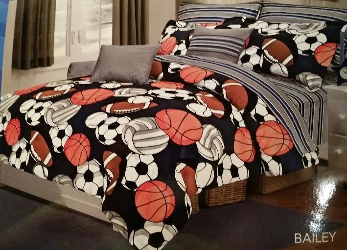 SPORTS COMFORTER SET 9PC garçons Bedding SHEETS Football Basketball Soccer Baseball