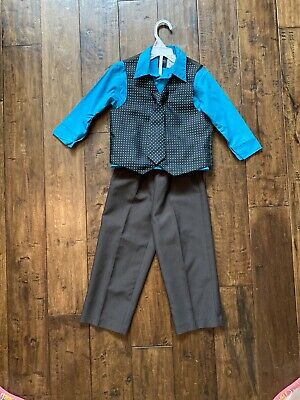 Reversible Dress Suit Vest and Two Pairs Pants Toddler Size 3T Handmade Recycled Materials Free Shipping!! SUIT VEST and Dress PANTS