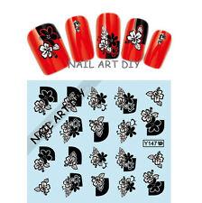 20 nail art stickers-decals water transfer-tattoo adesivi FIORI neri e bianchi !