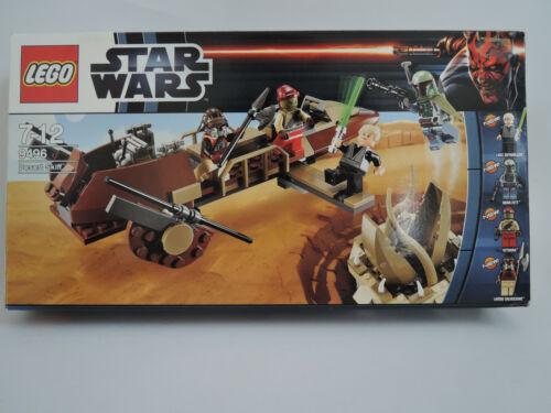 + personnages BA neuf dans sa boîte Top Lego 9496-Star Wars Desert Skiff complet