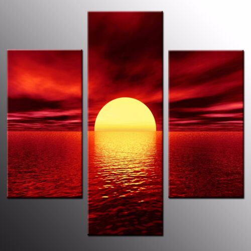FRAMED Canvas Prints Oil Painting Art Red Night Wall Art Canvas Painting3pcs