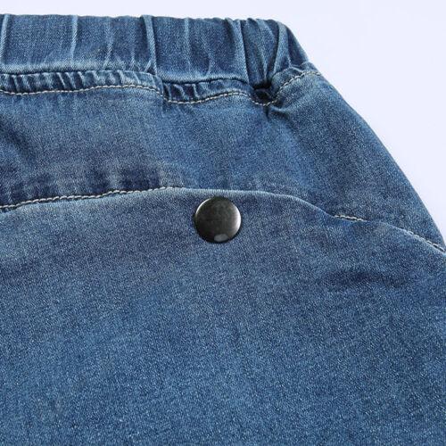 Mens Jeans Shorts Elasticated Waist Capri Trouser Summer Cool Plus Size W30 W46