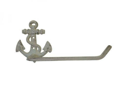 """Nautic Anchor Wall Decor Aged White Cast Iron Anchor Toilet Paper Holder 10/"""""""