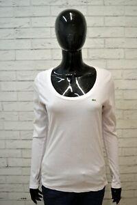 LACOSTE-Donna-Polo-Maglia-Rosa-Blusa-Manica-Lunga-Taglia-40-S-Shirt-Woman-Slim
