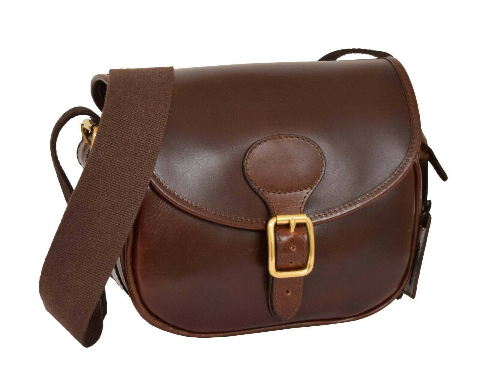 Cartridge Bag Genuine Brown Real Leather Ammo Shell Pouch Hunting Shooting Bag