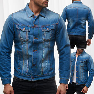 Hommes-Jeans-Veste-Transition-Veste-Motard-Gilet-stone-washed-court-Denim-Veste-Neuf