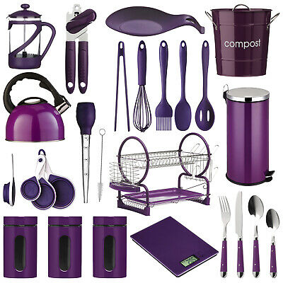Purple Kitchen Accessories Utensils Storage Canisters Cutlery Bin Scales Kettle Ebay