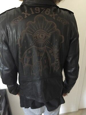 Rare black authentic leather DIESEL diesel jacket size medium perfect  condition dfbe844bd
