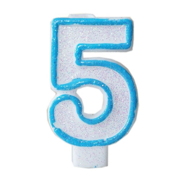 Blue Glitter Numeral 5 Number Candle White Premium 5th Birthday Cake