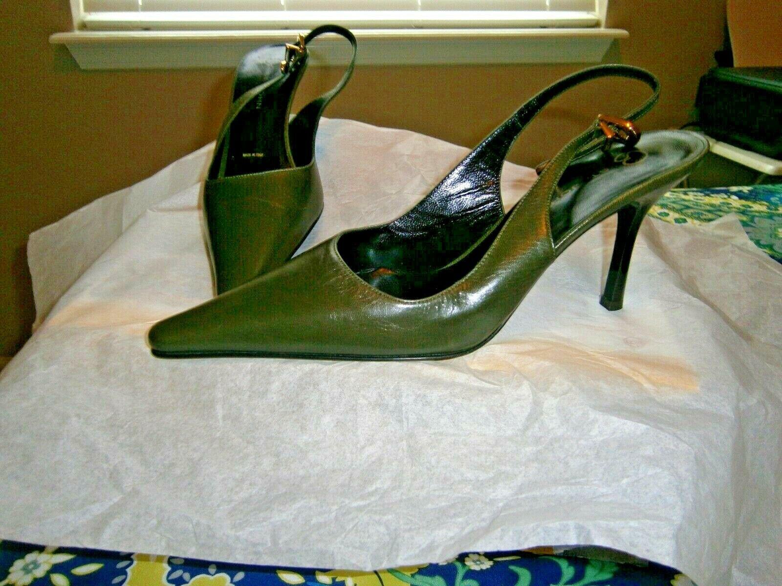 St John Made in  Dark Green Leather 3  Heel Slingback Pumps Sz 7.5B