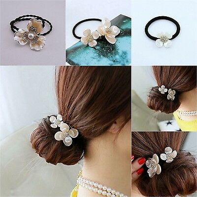 Lady's Fashion Elastic Flower Headband Rhinestone Rope Ponytail Holder