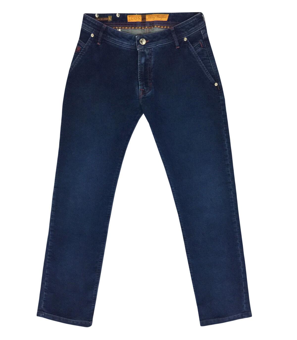 JM Icon Men's bluee Cotton Jeans Regular fit with Logo patch, size 40,42,44