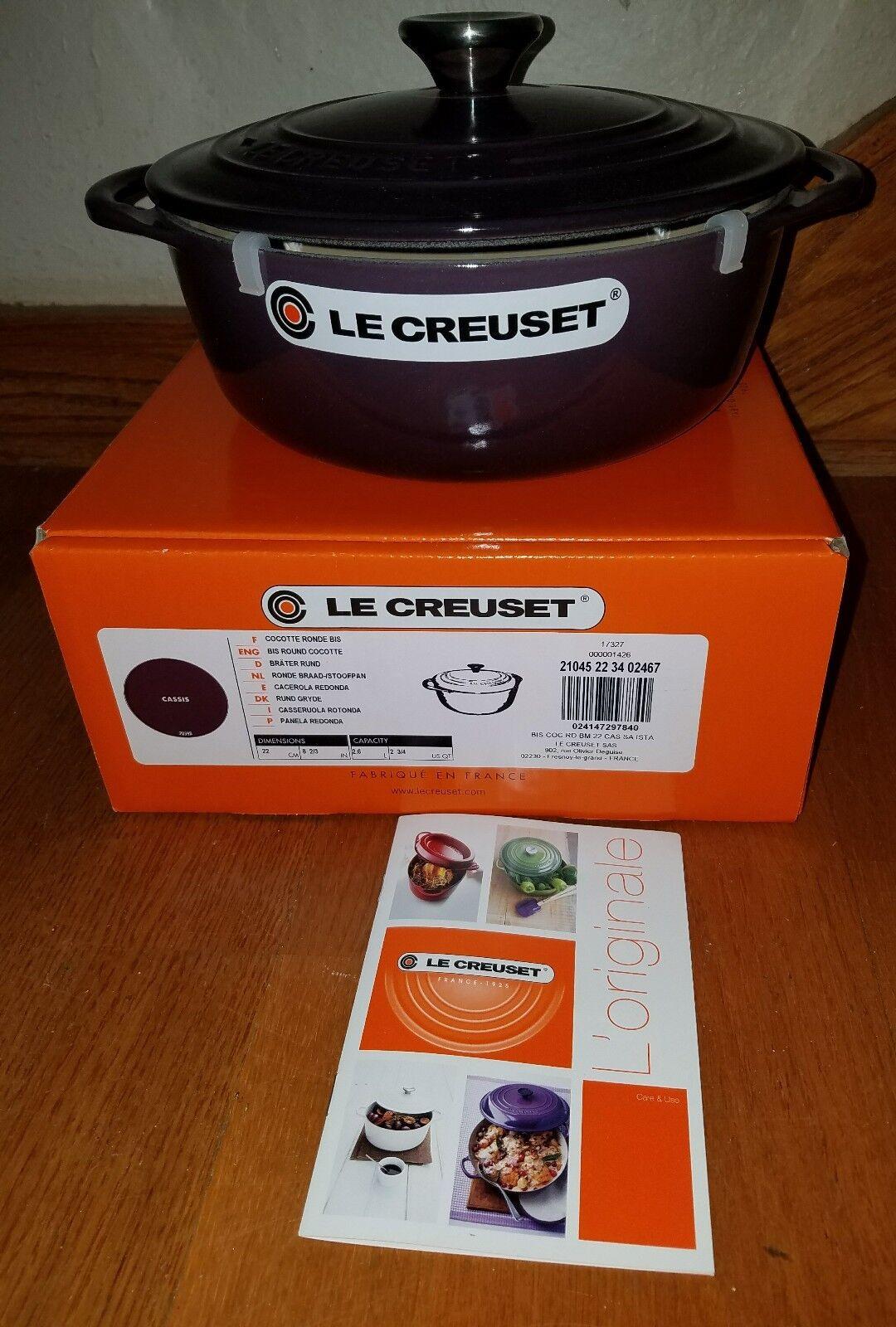 Nouveau Le Creuset 2.75-qt fonte Cassis Violet Dutch Oven
