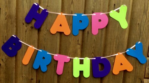 GIRLS HAPPY BIRTHDAY BANNER MULTI COLOURED PARTY BUNTING DECORATION