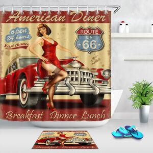 American Diner Route 66 Vintage Car Beauty Girl Fabric Shower Curtain Set 72 79 Ebay