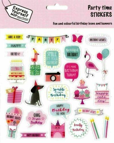 sous emballage PARTY TIME stickers-Idéal Pour Fabrication Carte Scrapbooking, Express Yourself En parfait état