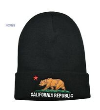 Mens California Republic Cali Bear Cuffed Beanie Hat Skull Cap - Black(Origin)
