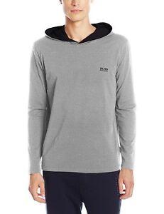 b2ad1759 Hugo Boss Men's Premium Long Sleeve Hooded Jersey Shirt T-Shirt ...