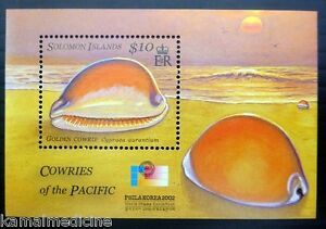 Solomon Islands 2002 MNH MS, Sun, Shells of Pacific - Golden Cowrie, Phila Korea