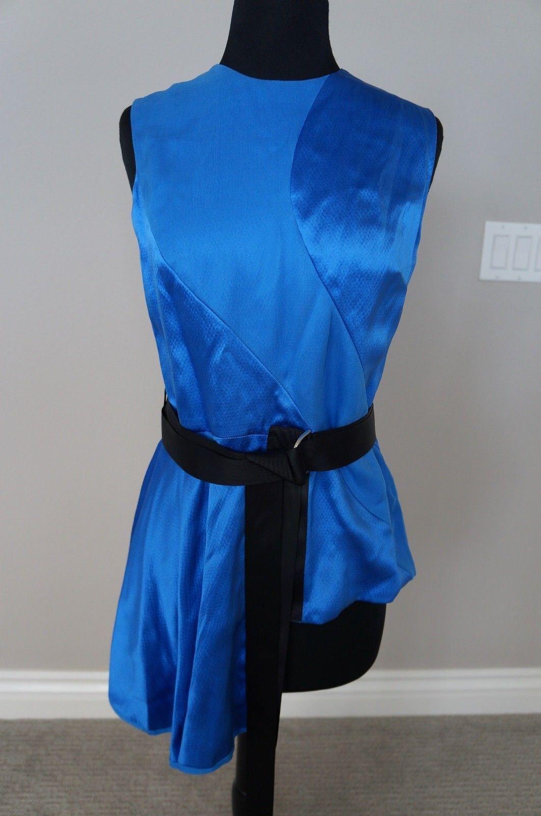 NEW ILJA Couture bluee Satin Asymmetrical Peplum Top Blouse Shirt S 4 UNIQUE