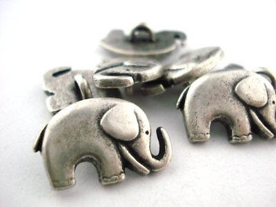 Adaptable Elephant Buttons Antique Silver Metal Button Qty 4 Jewelry Clasps Clothing Jaybo Bevorder De Productie Van Lichaamsvloeistof En Speeksel