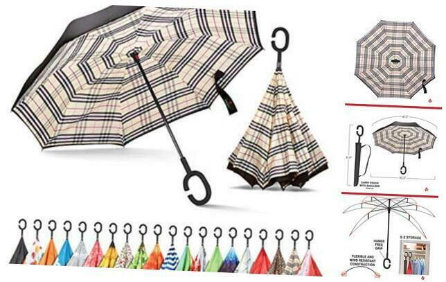 Inverted, Windproof, Reverse Umbrella for Women with UV Beige Plaid
