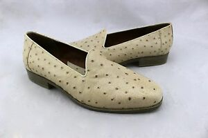GIORGIO-BRUTINI-Ivory-Beige-Ostrich-Leather-Loafers-Slip-On-Shoes-7-5-Wmn-6-5-Mn