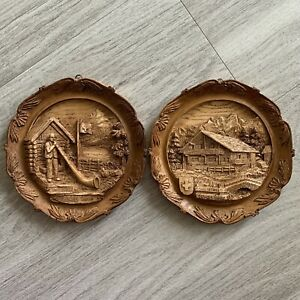 Two-Swiss-Wood-Resin-Carved-Souvenir-Plates-Art-Decor-Chalet-Alpine-Horn