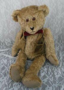 Vintage-1988-Martha-DeRaimo-Teddy-Bear-Brown-Mohair-Jointed-Vest-Bow-18-034-Stuffed