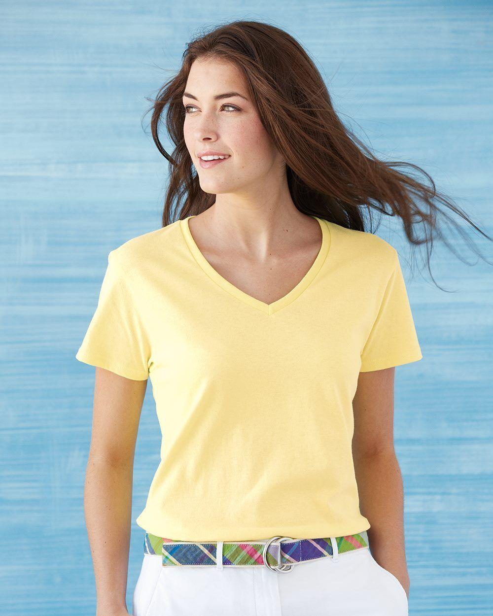 15 Gildan Ladies Heavy Cotton V-Neck T-Shirt Bulk Lot ok to mix S-XL & Farbes