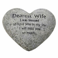 In Loving Memory Graveside Heart Plaque Stone - Wife Grave Memorial