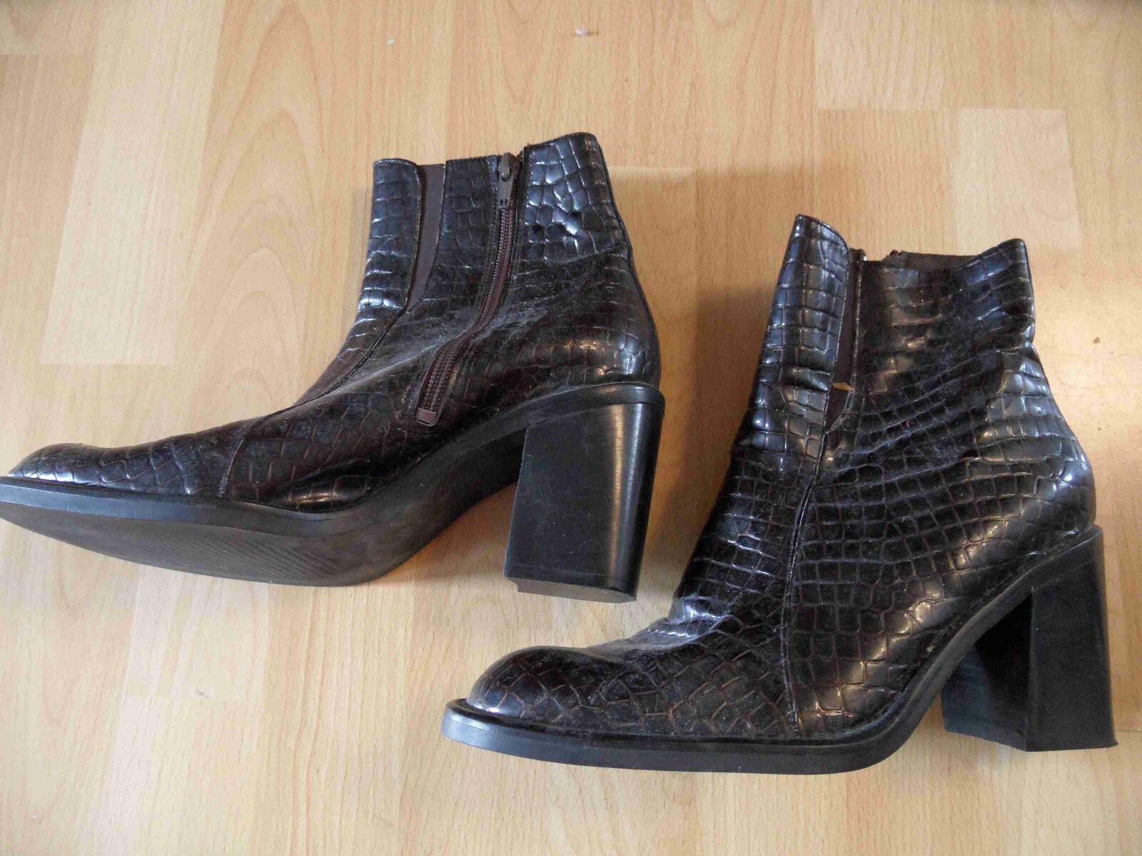 FINESSE stylische Schuhmode stylische FINESSE Leder-Stiefeletten Reptiloptik braun Gr.40 TOP TH616 4877ba