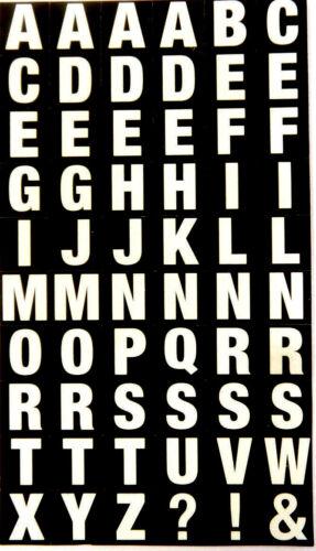blanco letras en negro 10mm Cuadrado Pegatinas-RCL7963 Alfabeto A-Z Pegatinas