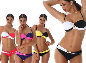 Bikini donna balconcino costume da bagno mare bicolor ferretto due