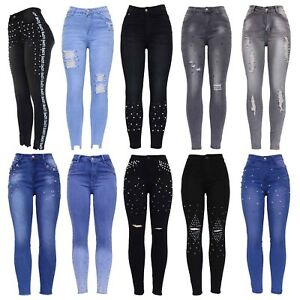 Womens-High-Waist-Pearl-Embellished-Ripped-Distressed-Ladies-Skinny-Denim-Jeans