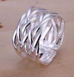 Silberring-Geflochten-Mehrreihig-Vintage-Damen-Ring-Silber-925-Groessenverstellbar
