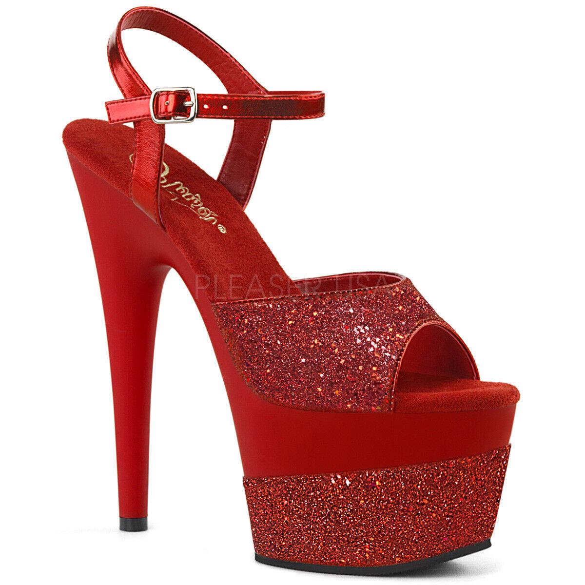 PLEASER ADORE-709-2G 7  Heel rot Glitter Platform Stripper Ankle Ankle Ankle Strap schuhe 011137