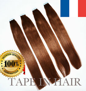 7A-40-50CM-EXTENSIONS-DE-CHEVEUX-TAPE-BANDES-ADHESIVE-POSE-A-FROID-NATUREL
