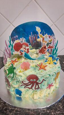 Disney Princess Ariel Scene Wafer Edible Cake Decoration ...