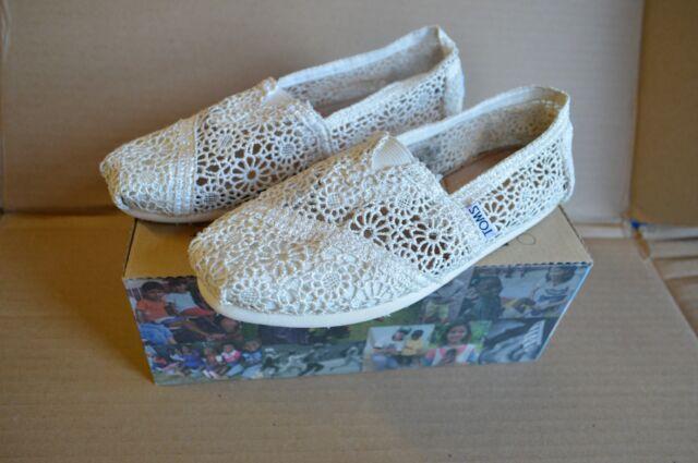 1b3d2f2d3621 Toms Womens Classic Crochet Slip on Alpargata Shoes Natural Morocco US 5