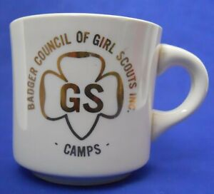 Vintage-Girl-Scout-Badger-Council-Camps-Coffee-Mug-Cup-U-S-A-9-Oz