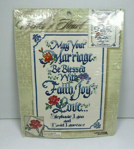 Vintage Marriage Sampler Religious Wedding Gift Cross Stitch Patterns Embroidered Anniversary Present Leisure Arts Mill Hill